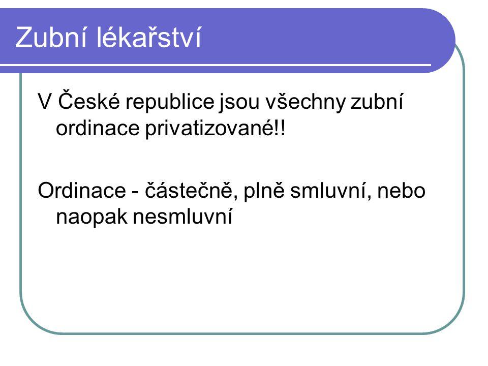 Zubní lékařství V České republice jsou všechny zubní ordinace privatizované!! Ordinace - částečně, plně smluvní, nebo naopak nesmluvní