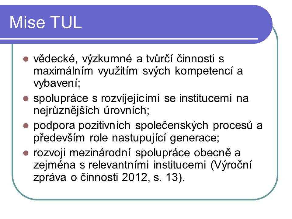 Mise TUL vědecké, výzkumné a tvůrčí činnosti s maximálním využitím svých kompetencí a vybavení; spolupráce s rozvíjejícími se institucemi na nejrůzněj