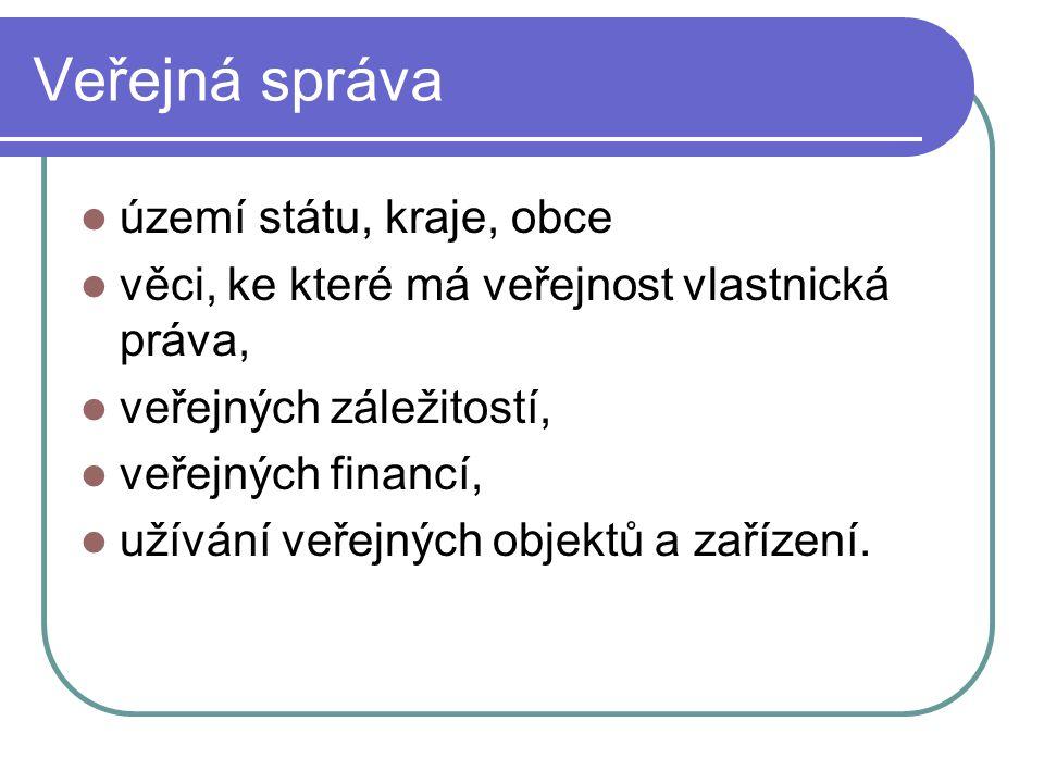 Veřejná správa území státu, kraje, obce věci, ke které má veřejnost vlastnická práva, veřejných záležitostí, veřejných financí, užívání veřejných obje
