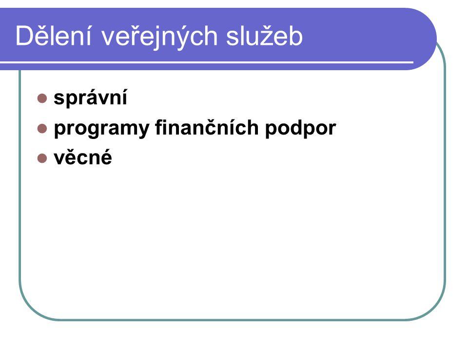 Dělení veřejných služeb správní programy finančních podpor věcné