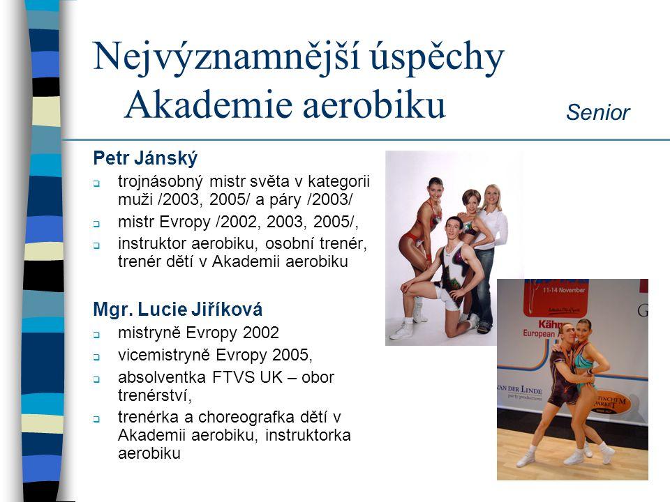 Nejvýznamnější úspěchy Akademie aerobiku Senior Veronika Stupková Iveta Piskáčková Gabriela Ziková 3.místo na Mistrovství světa 2008 v Helsinkách 4.místo na Mistrovství světa 2007 v Bělehradě