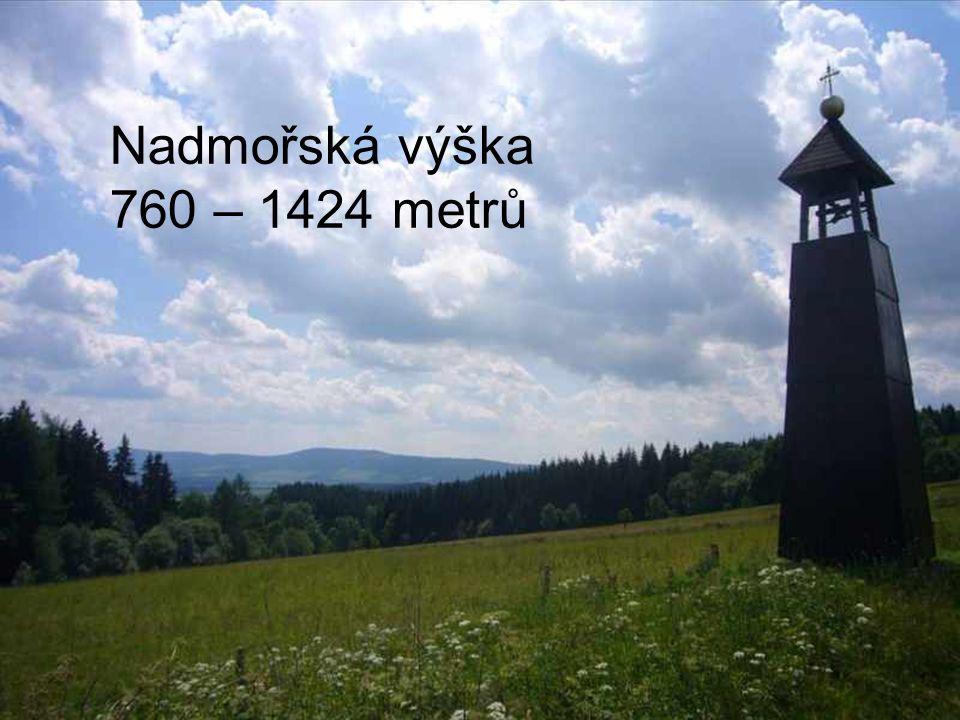 Nadmořská výška 760 – 1424 metrů