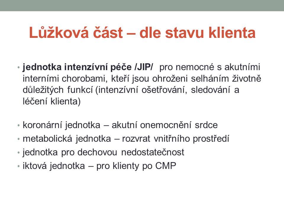 Lůžková část – dle stavu klienta jednotka intenzívní péče /JIP/ pro nemocné s akutními interními chorobami, kteří jsou ohroženi selháním životně důležitých funkcí (intenzívní ošetřování, sledování a léčení klienta) koronární jednotka – akutní onemocnění srdce metabolická jednotka – rozvrat vnitřního prostředí jednotka pro dechovou nedostatečnost iktová jednotka – pro klienty po CMP