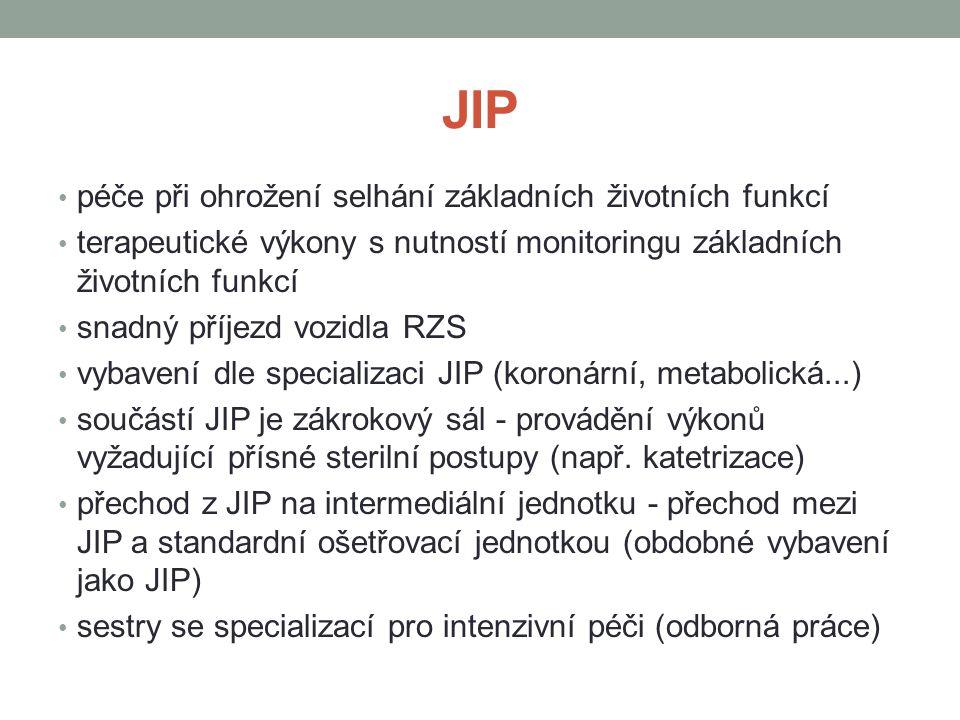 JIP péče při ohrožení selhání základních životních funkcí terapeutické výkony s nutností monitoringu základních životních funkcí snadný příjezd vozidla RZS vybavení dle specializaci JIP (koronární, metabolická...) součástí JIP je zákrokový sál - provádění výkonů vyžadující přísné sterilní postupy (např.