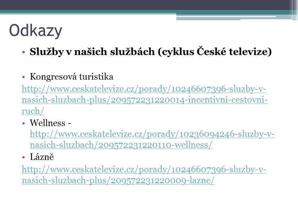 Odkazy Služby v našich službách (cyklus České televize) Kongresová turistika http://www.ceskatelevize.cz/porady/10246607396-sluzby-v- nasich-sluzbach-