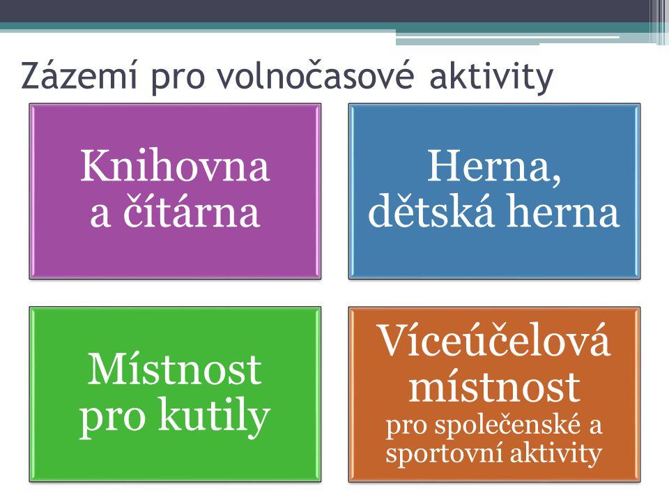 Zázemí pro volnočasové aktivity Knihovna a čítárna Herna, dětská herna Místnost pro kutily Víceúčelová místnost pro společenské a sportovní aktivity