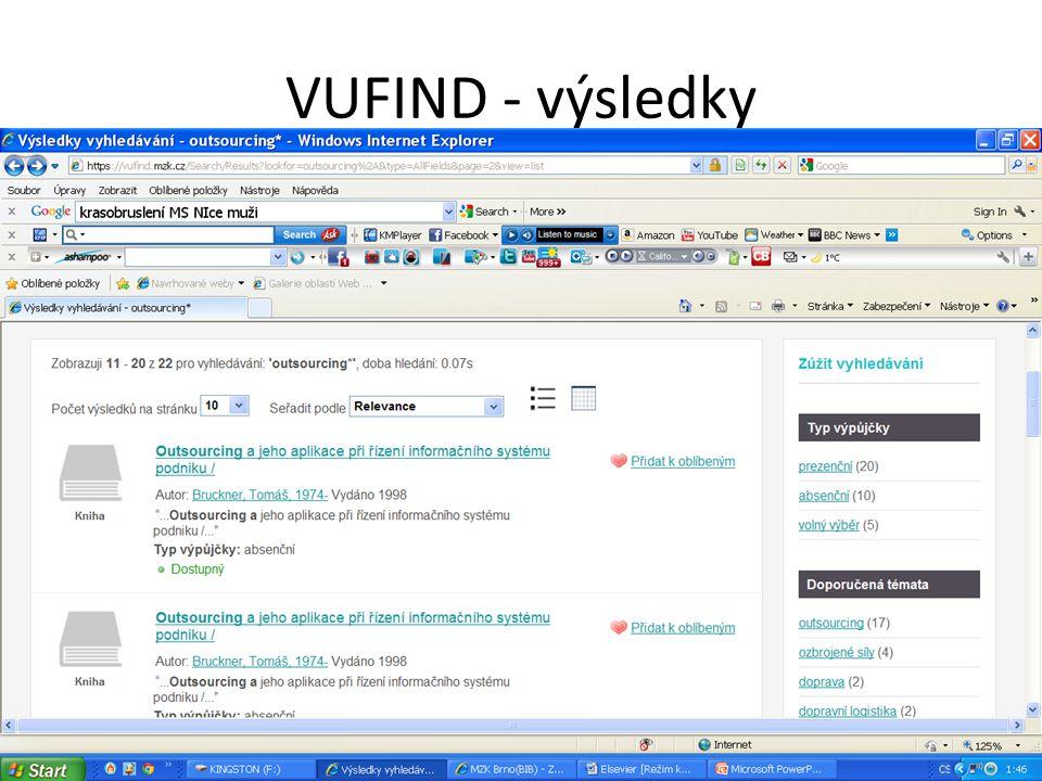 VUFIND - výsledky
