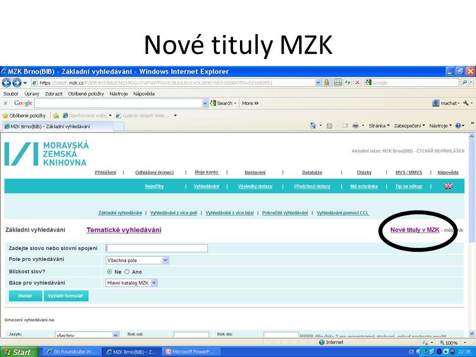Nové tituly MZK
