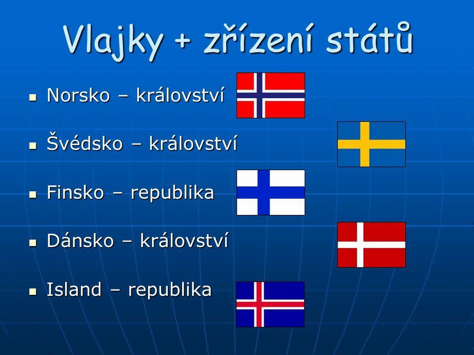 Vlajky + zřízení států Norsko – království Norsko – království Švédsko – království Švédsko – království Finsko – republika Finsko – republika Dánsko