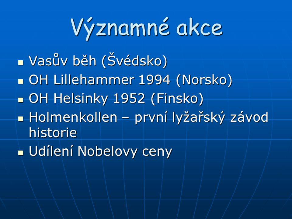 Významné akce Vasův běh (Švédsko) Vasův běh (Švédsko) OH Lillehammer 1994 (Norsko) OH Lillehammer 1994 (Norsko) OH Helsinky 1952 (Finsko) OH Helsinky
