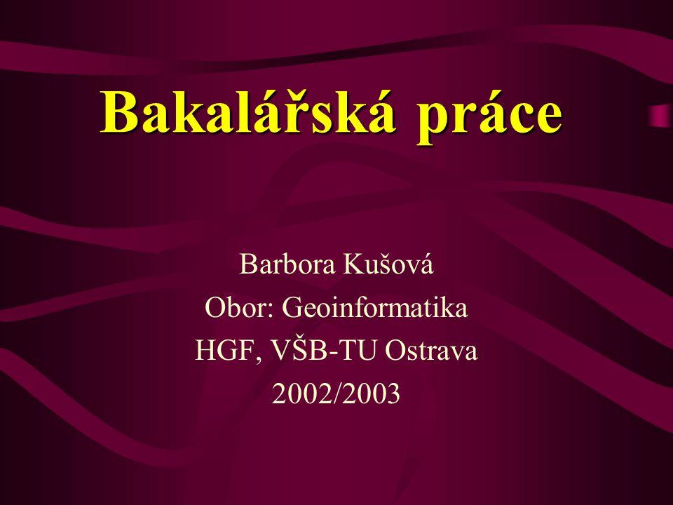 Bakalářská práce Barbora Kušová Obor: Geoinformatika HGF, VŠB-TU Ostrava 2002/2003