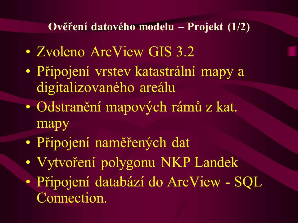 Ověření datového modelu – Projekt (1/2) Zvoleno ArcView GIS 3.2 Připojení vrstev katastrální mapy a digitalizovaného areálu Odstranění mapových rámů z