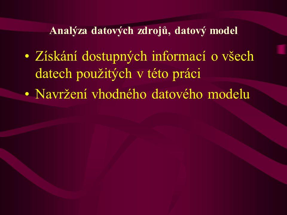Analýza datových zdrojů, datový model Získání dostupných informací o všech datech použitých v této práci Navržení vhodného datového modelu