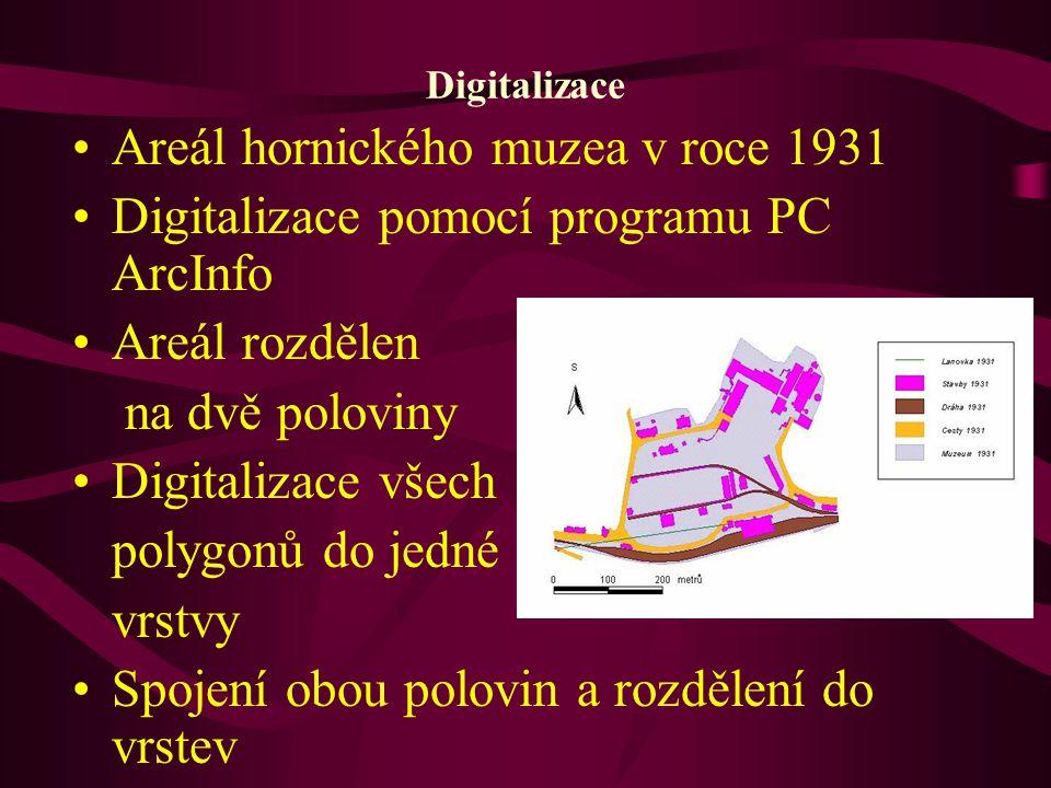 Digitalizace Areál hornického muzea v roce 1931 Digitalizace pomocí programu PC ArcInfo Areál rozdělen na dvě poloviny Digitalizace všech polygonů do