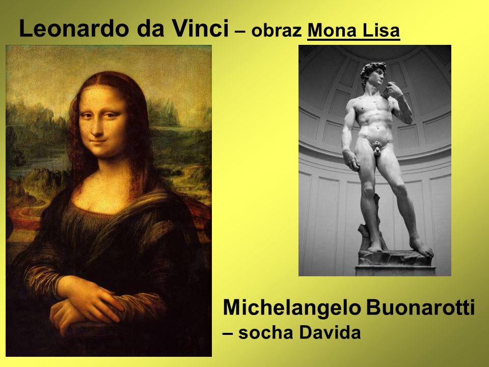 Leonardo da Vinci – obraz Mona Lisa Michelangelo Buonarotti – socha Davida