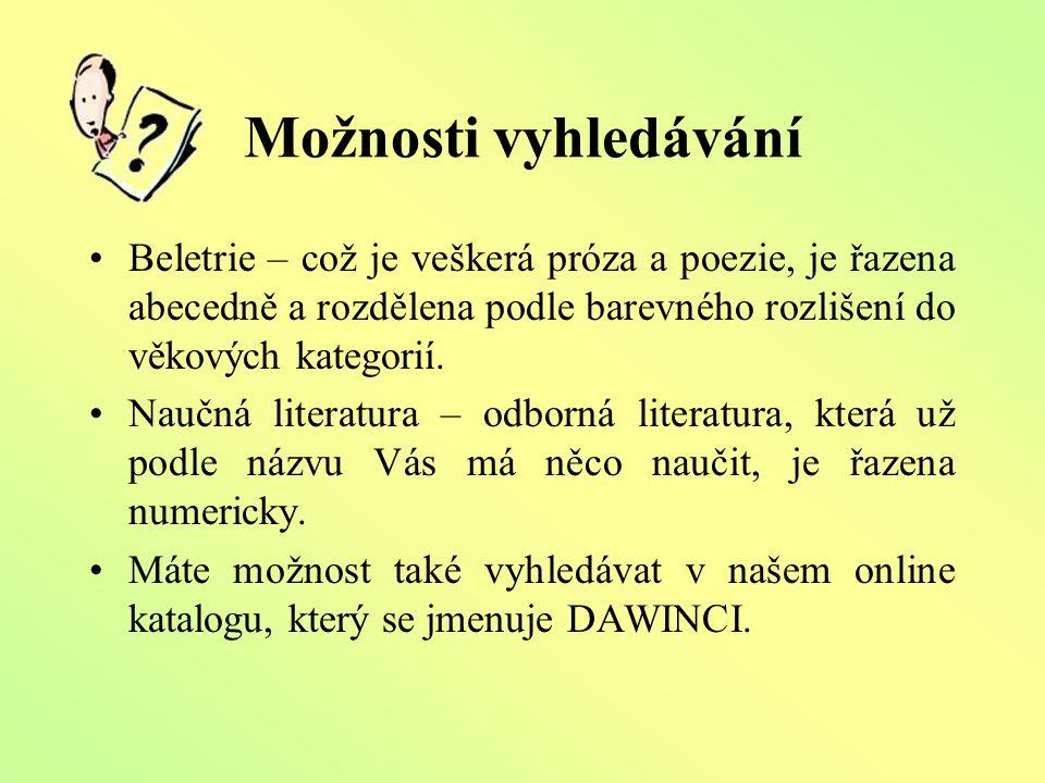 DAWINCI Online katalog Slouží k vyhledávání knížek a jiných titulů podle:  Autora  Názvu  Klíčového slova