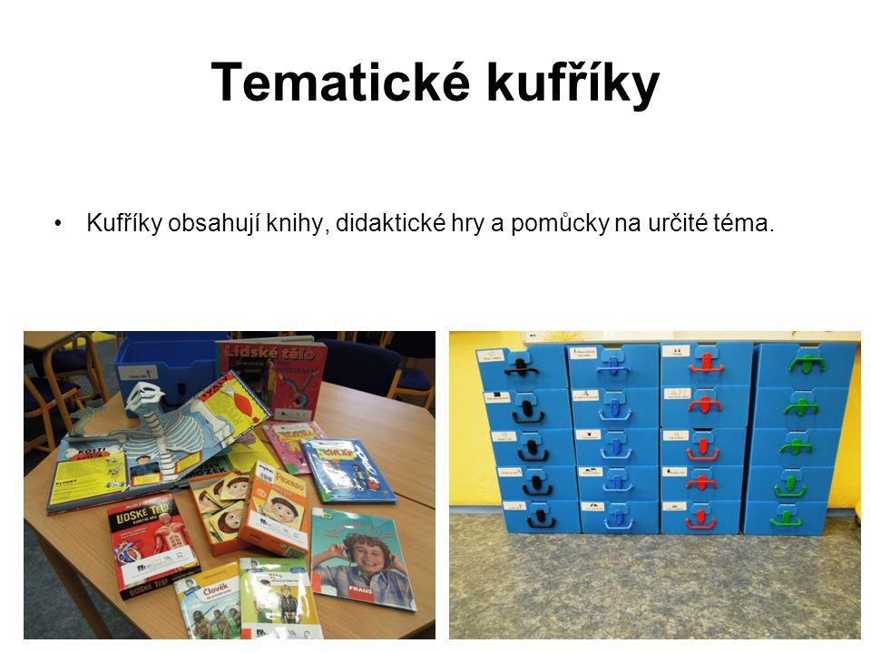 Tematické kufříky Kufříky obsahují knihy, didaktické hry a pomůcky na určité téma.