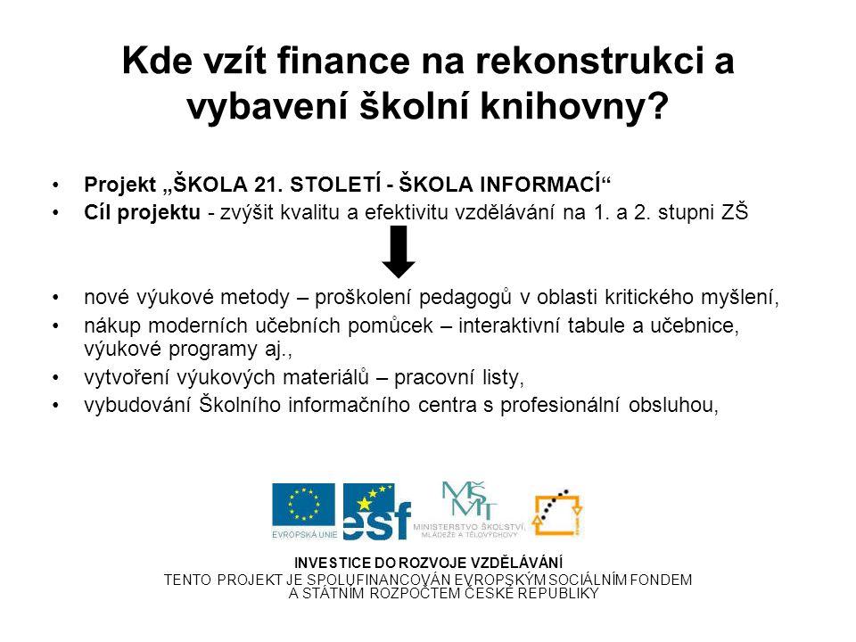 Kde vzít finance na rekonstrukci a vybavení školní knihovny.