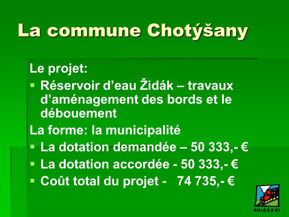La commune Chotýšany Le projet:   Réservoir d'eau Židák – travaux d'aménagement des bords et le débouement La forme: la municipalité   La dotation