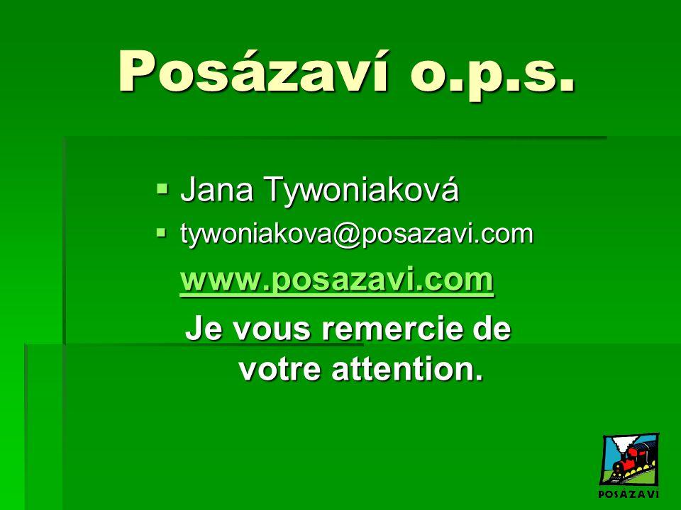 Posázaví o.p.s.  Jana Tywoniaková  tywoniakova@posazavi.com www.posazavi.com Je vous remercie de votre attention.