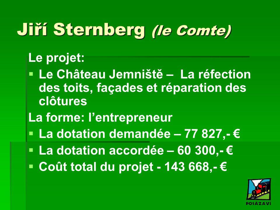 Jiří Sternberg (le Comte) Le projet:   Le Château Jemniště – La réfection des toits, façades et réparation des clôtures La forme: l'entrepreneur  