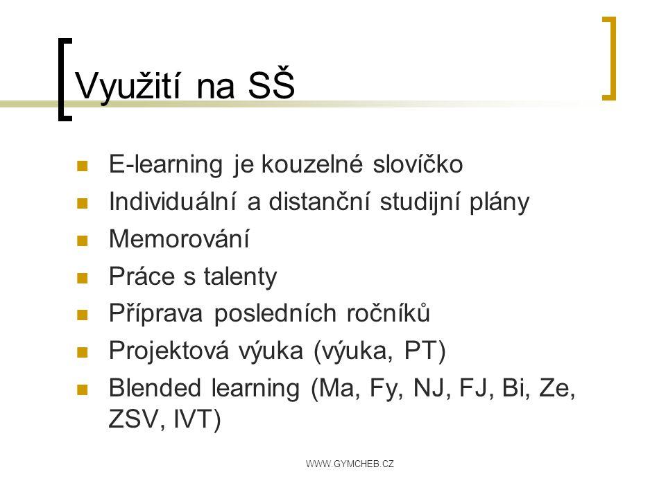 WWW.GYMCHEB.CZ Využití na SŠ E-learning je kouzelné slovíčko Individuální a distanční studijní plány Memorování Práce s talenty Příprava posledních ro