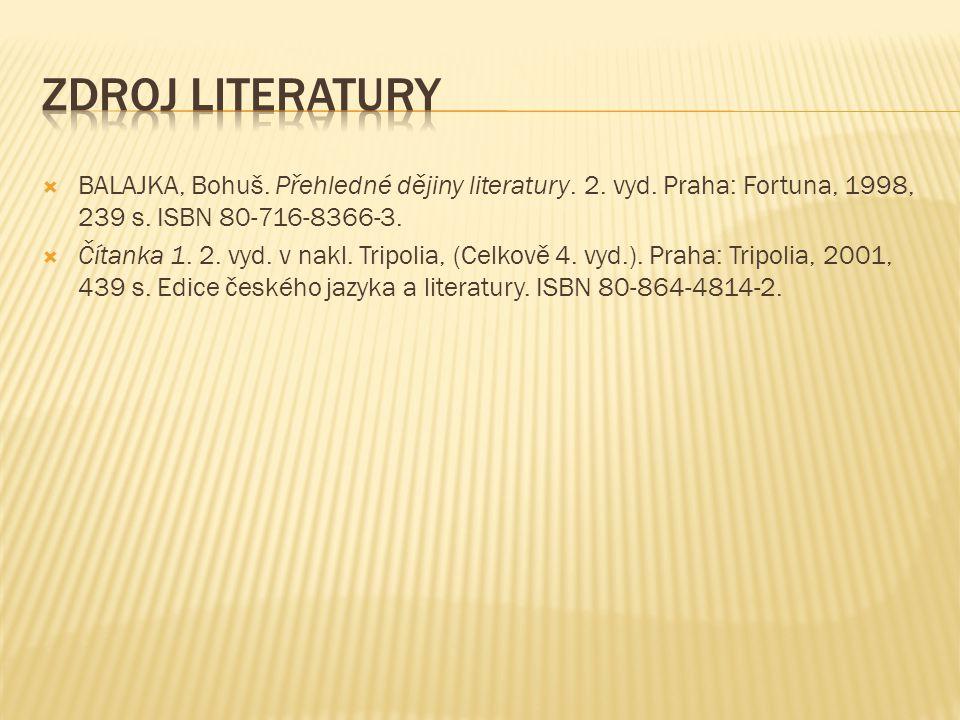  BALAJKA, Bohuš. Přehledné dějiny literatury. 2. vyd. Praha: Fortuna, 1998, 239 s. ISBN 80-716-8366-3.  Čítanka 1. 2. vyd. v nakl. Tripolia, (Celkov