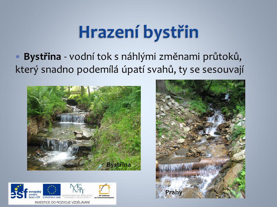 Bystřina - vodní tok s náhlými změnami průtoků, který snadno podemílá úpatí svahů, ty se sesouvají Bystřina Prahy