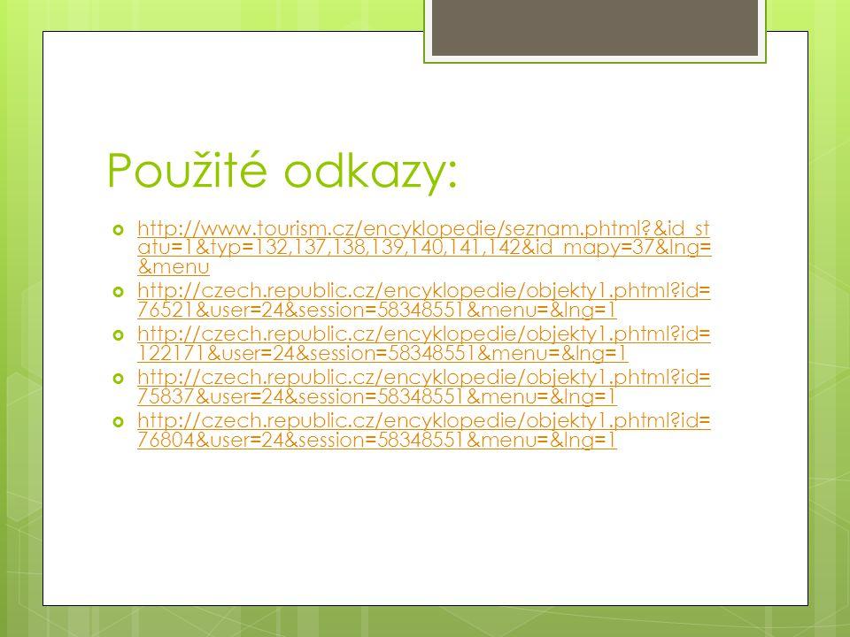 Použité odkazy:  http://www.tourism.cz/encyklopedie/seznam.phtml?&id_st atu=1&typ=132,137,138,139,140,141,142&id_mapy=37&lng= &menu http://www.touris