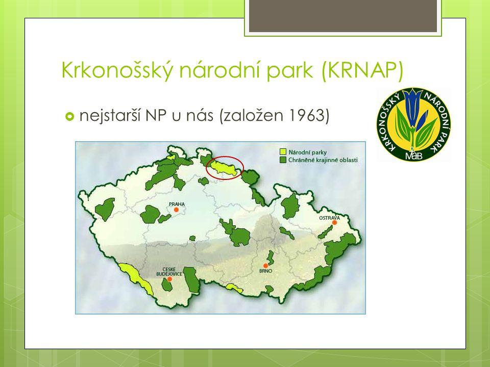Krkonošský národní park (KRNAP)  nejstarší NP u nás (založen 1963)
