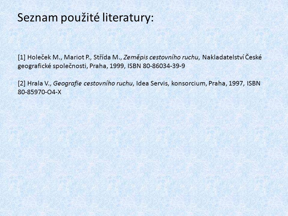 Seznam použité literatury: [1] Holeček M., Mariot P., Střída M., Zeměpis cestovního ruchu, Nakladatelství České geografické společnosti, Praha, 1999,