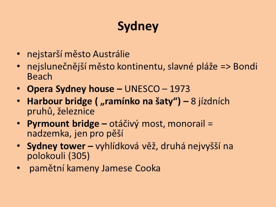"""Sydney nejstarší město Austrálie nejslunečnější město kontinentu, slavné pláže => Bondi Beach Opera Sydney house – UNESCO – 1973 Harbour bridge ( """"ram"""