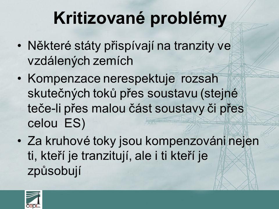Kritizované problémy Některé státy přispívají na tranzity ve vzdálených zemích Kompenzace nerespektuje rozsah skutečných toků přes soustavu (stejné te