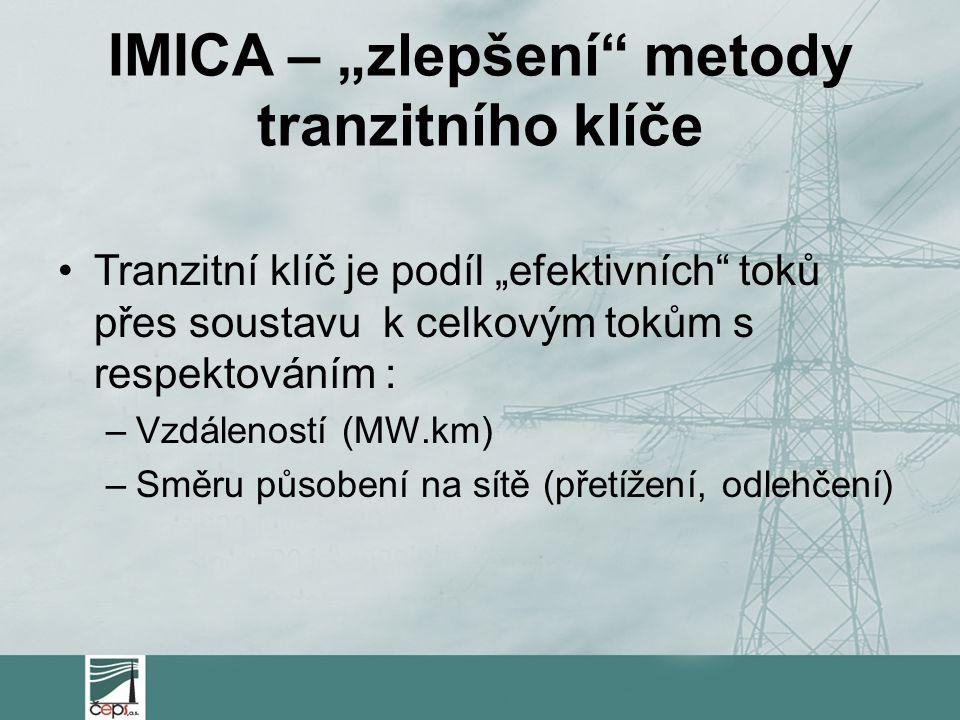 """IMICA – """"zlepšení metody tranzitního klíče Tranzitní klíč je podíl """"efektivních toků přes soustavu k celkovým tokům s respektováním : –Vzdáleností (MW.km) –Směru působení na sítě (přetížení, odlehčení)"""