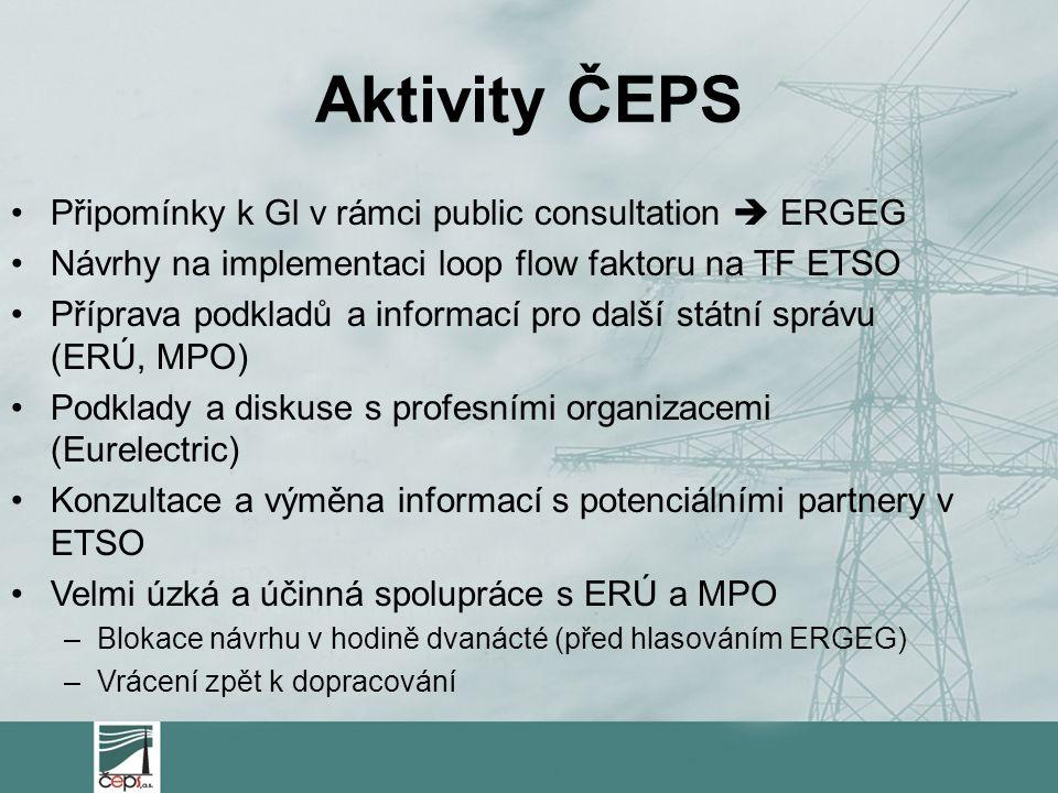 Aktivity ČEPS Připomínky k Gl v rámci public consultation  ERGEG Návrhy na implementaci loop flow faktoru na TF ETSO Příprava podkladů a informací pro další státní správu (ERÚ, MPO) Podklady a diskuse s profesními organizacemi (Eurelectric) Konzultace a výměna informací s potenciálními partnery v ETSO Velmi úzká a účinná spolupráce s ERÚ a MPO –Blokace návrhu v hodině dvanácté (před hlasováním ERGEG) –Vrácení zpět k dopracování