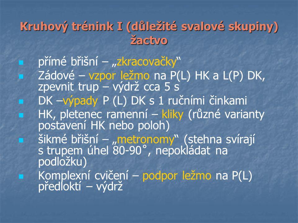 """Kruhový trénink I (důležité svalové skupiny) žactvo přímé břišní – """"zkracovačky Zádové – vzpor ležmo na P(L) HK a L(P) DK, zpevnit trup – výdrž cca 5 s DK –výpady P (L) DK s 1 ručními činkami HK, pletenec ramenní – kliky (různé varianty postavení HK nebo poloh) šikmé břišní – """"metronomy (stehna svírají s trupem úhel 80-90˚, nepokládat na podložku) Komplexní cvičení – podpor ležmo na P(L) předloktí – výdrž"""