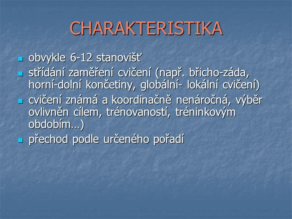 CHARAKTERISTIKA obvykle 6-12 stanovišť obvykle 6-12 stanovišť střídání zaměření cvičení (např.