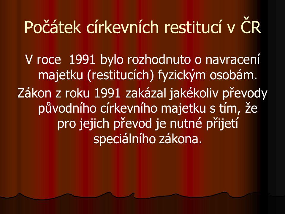 Počátek církevních restitucí v ČR V roce 1991 bylo rozhodnuto o navracení majetku (restitucích) fyzickým osobám. Zákon z roku 1991 zakázal jakékoliv p