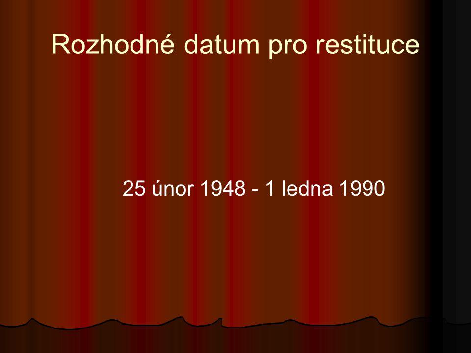 Rozhodné datum pro restituce 25 únor 1948 - 1 ledna 1990