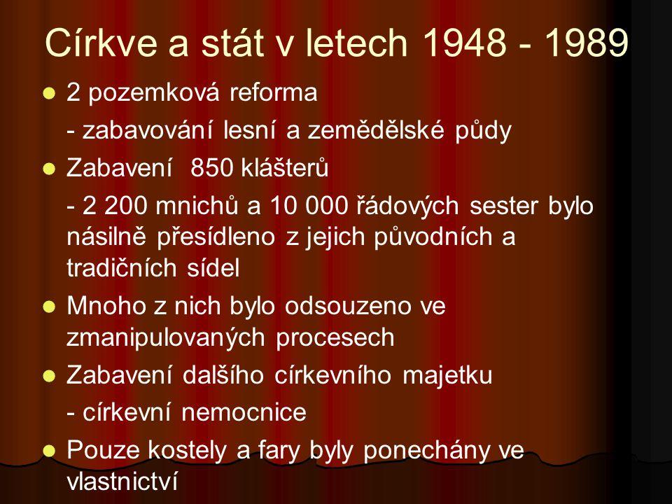 Církve a stát v letech 1948 - 1989 2 pozemková reforma - zabavování lesní a zemědělské půdy Zabavení 850 klášterů - 2 200 mnichů a 10 000 řádových ses