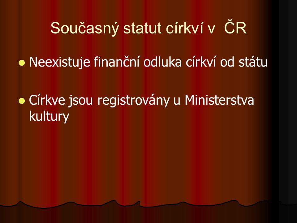 Současný statut církví v ČR Neexistuje finanční odluka církví od státu Církve jsou registrovány u Ministerstva kultury