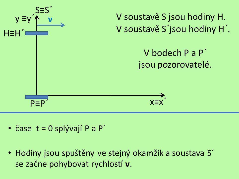 čase t = 0 splývají P a P´ Hodiny jsou spuštěny ve stejný okamžik a soustava S´ se začne pohybovat rychlostí v.
