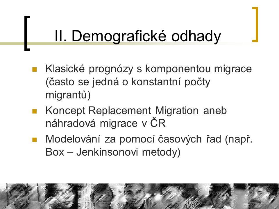 II. Demografické odhady Klasické prognózy s komponentou migrace (často se jedná o konstantní počty migrantů) Koncept Replacement Migration aneb náhrad