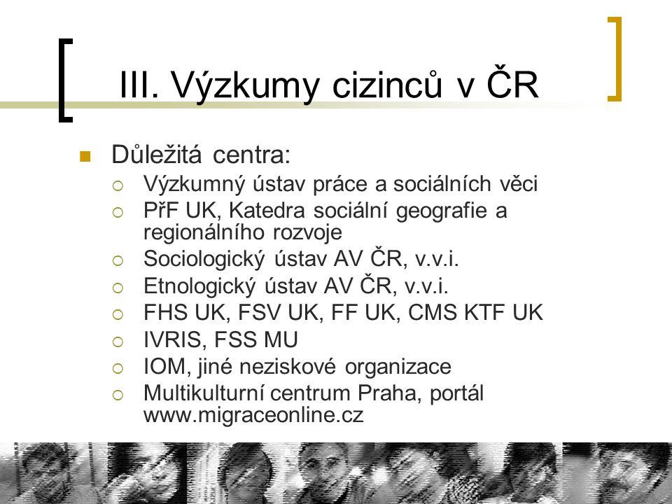 III. Výzkumy cizinců v ČR Důležitá centra:  Výzkumný ústav práce a sociálních věci  PřF UK, Katedra sociální geografie a regionálního rozvoje  Soci