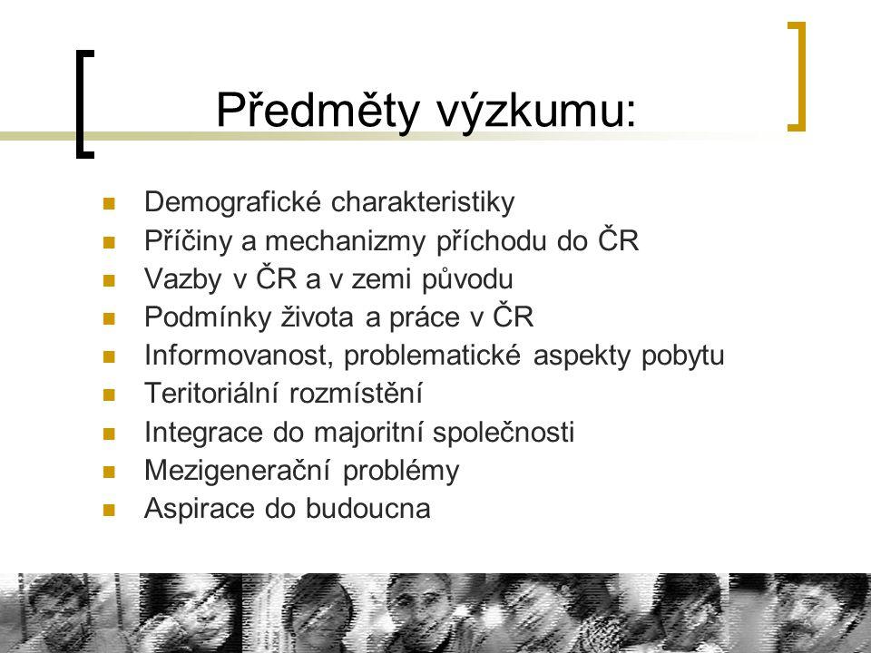 Předměty výzkumu: Demografické charakteristiky Příčiny a mechanizmy příchodu do ČR Vazby v ČR a v zemi původu Podmínky života a práce v ČR Informovano