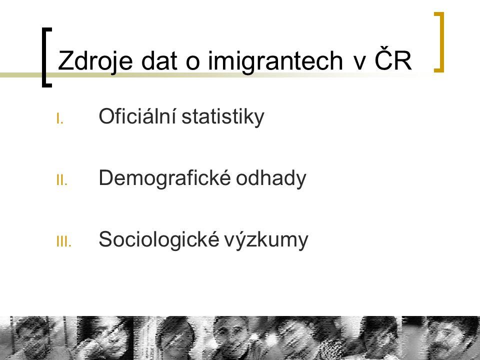 Zdroje dat o imigrantech v ČR I. Oficiální statistiky II. Demografické odhady III. Sociologické výzkumy