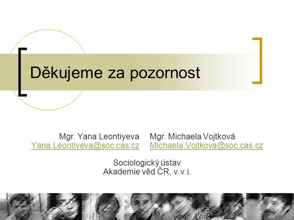 Děkujeme za pozornost Mgr. Yana Leontiyeva Mgr. Michaela Vojtková Yana.Leontiyeva@soc.cas.cz Michaela.Vojtkova@soc.cas.cz Yana.Leontiyeva@soc.cas.czMi
