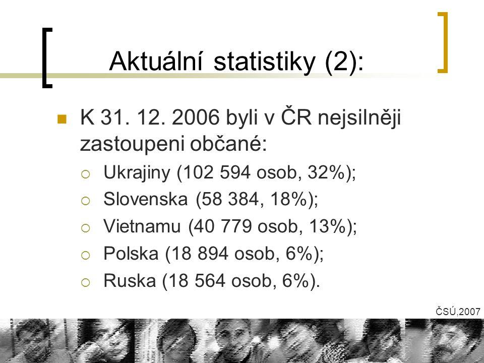 Aktuální statistiky (2): K 31. 12. 2006 byli v ČR nejsilněji zastoupeni občané:  Ukrajiny (102 594 osob, 32%);  Slovenska (58 384, 18%);  Vietnamu