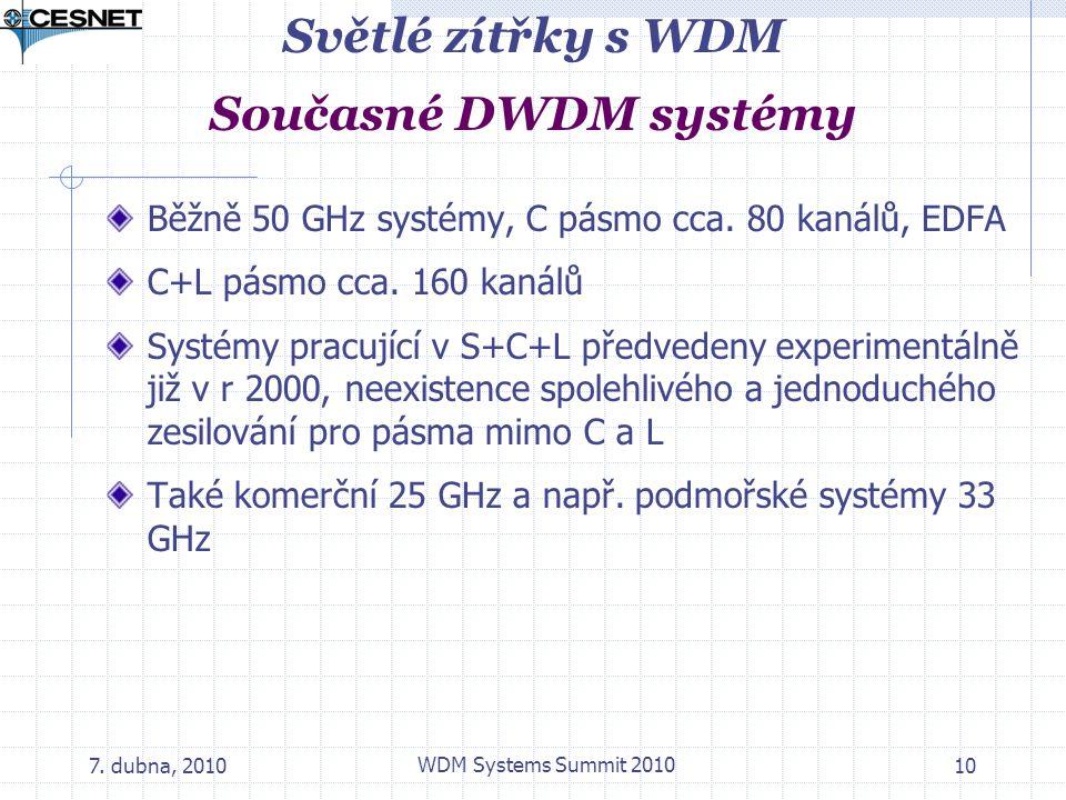 7. dubna, 2010 WDM Systems Summit 2010 10 Světlé zítřky s WDM Současné DWDM systémy Běžně 50 GHz systémy, C pásmo cca. 80 kanálů, EDFA C+L pásmo cca.