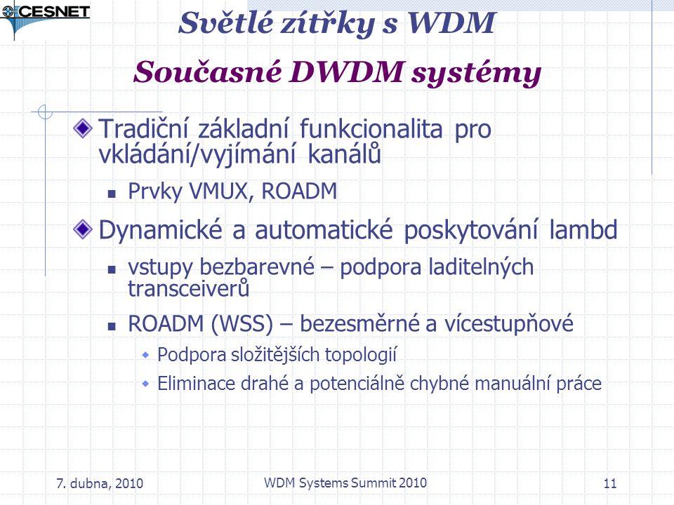 7. dubna, 2010 WDM Systems Summit 2010 11 Světlé zítřky s WDM Současné DWDM systémy Tradiční základní funkcionalita pro vkládání/vyjímání kanálů Prvky